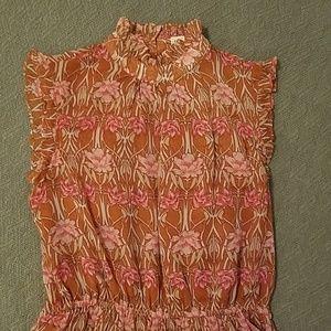 Ruffled Mandarin Collar Tunic